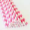 Striped Paper Straws Hot Pink, Package of 25