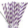 Striped Paper Straws Purple, Package of 25