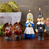 Thanksgiving Pilgrim and Turkey Candles, Set of 4