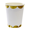 Gold Scallop Party Cups, Set of 8