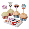 Cupcake Kit Making Funny Faces, Set of 24 Liners & Picks