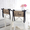 Bride & Groom Burlap Chair Sash Set
