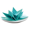 Origami Fancy Fold Paper Napkins Aqua, Set of 12