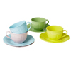Small Melamine Tea Cup & Saucers, Set of 4