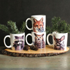 Woodland Stoneware Mugs, Set of 4