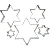 Cookie Cutter 6 Point Star Set of  5, Tin