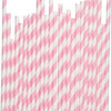 Striped Paper Straws Bubble Gum Pink, Package of 25