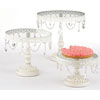 Jeweled Vintage French White Cake Stands, Set of 3