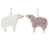 Wood & Wool Sheep Ornaments, Set of 2